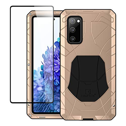 Feitenn Samsung S20 FE 5G Metal Case, Galaxy S20 FE 5G Case Heavy Duty, Hard Cover Armor Military Bumper Shockproof Defender Rubber Men Gift Screen Protector for Samsung Galaxy S20 FE 5G 2020 - Gold