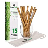"""Organic Reusable Bamboo Drinking Straws by StrawPanda- (15 Pack) 8"""" biodegradable straws includes cleaning brush and carrying case, perfect for kids and adults. Great plastic alternative"""