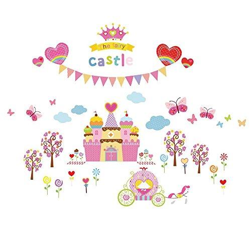 Winhappyhome Cake Castle Pépinière Stickers Muraux pour Kids Room Decoration Amovible Art Décalcomanies