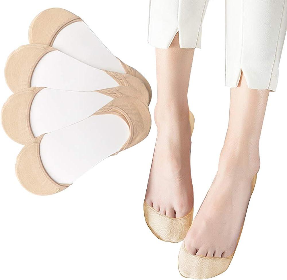 No Show Socks Women, Refial 4 Pairs Non Slip Low Cut Socks for Women Thin Flat Socks