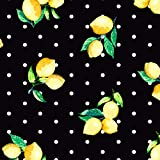 FS443_1 Lemons Polka Dots   Scuba Schneidern Stoff  