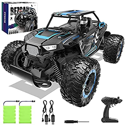 BEZGAR 18 Blue Toy Grade 1:14 Scale Remote Control Car, 2WD High Speed 20 Km/h All Terrains Electric Toy Off Road RC Vehicle Truck Crawler with Two Rechargeable Batteries for Boys Kids and Adults by BEZGAR