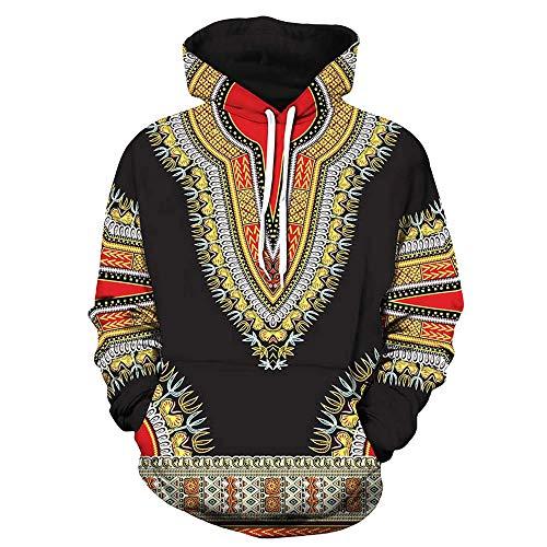 SuperSU Herbst Winter Afrikanischen 3D Print Langarm Dashiki Hoodies Sweatshirt Pullover Pulli Mit Rundhalsausschnitt Männer Print mit Kapuze Langarm Herren Kapuzenpullover Hoodie Kapuze Top