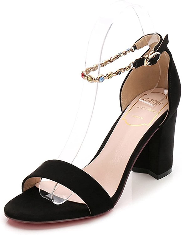 T-JULY Womens Ladies Fashion Suede Platform Peep Toe Pumps Chunky Heel Buckle Ankle Strap Slides Slip on Sex Dress Sandals