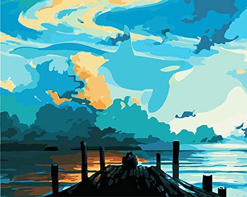 LWZH DIY数字油絵 デジタル油絵 塗り絵 大人 手塗り油絵 風景画 装飾ホームインテリアギフト-海岸のカップル40x50cm(フレームレス)