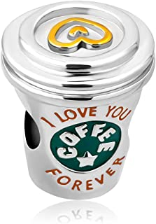 Q&Locket I Love You Coffee Cup Charm Heart Charms Beads for Bracelets