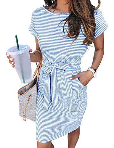 MEROKEETY Women's Summer Striped Short Sleeve T Shirt Dress Casual Tie Waist Midi Dress, Blue, M