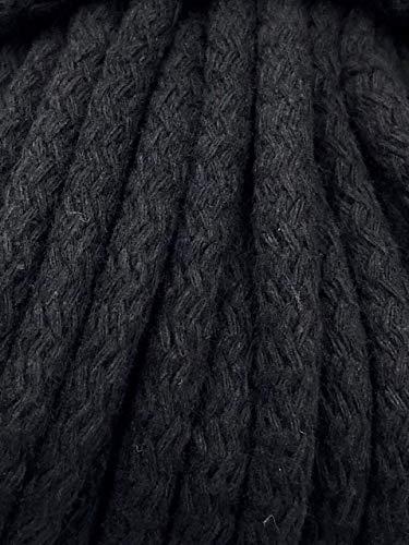 Slantastoffe 1m, 3m, 5m Kordel Baumwolle 8mm rund Schnur Turnbeutel Seil 4 Farben (Schwarz, 5m)