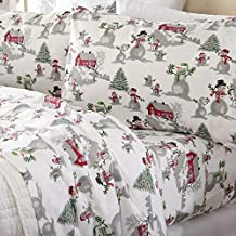 Flannel Sheets California King Winter Bed Sheets Flannel Sheet Set Winter Wonderland Flannel Sheets 100% Turkish Cotton Flannel Sheet Set. Stratton Collection (California King, Winter Wonderland)
