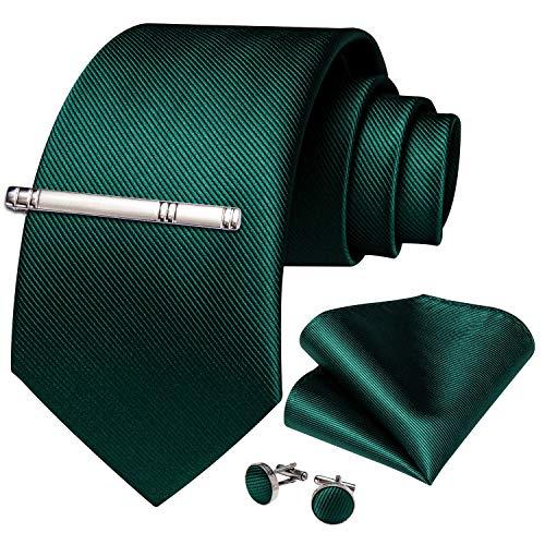 DiBanGu DiBanGu - Business-Krawatten-Set aus gewebter Seide, bestehend aus Herrenkrawatte, Einstecktuch, Manschettenknöpfen und Krawattennadel Gr. Einheitsgröße, grün