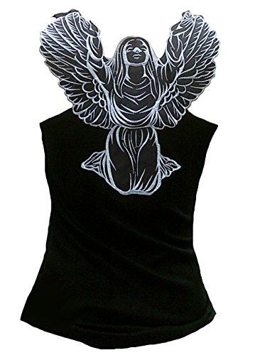 Rockabilly Punk Rock Bebé Mujer Negro Diseñador Tank Top Camisa Guadalupe Religión Ángel Alas Tatuaje Diseño
