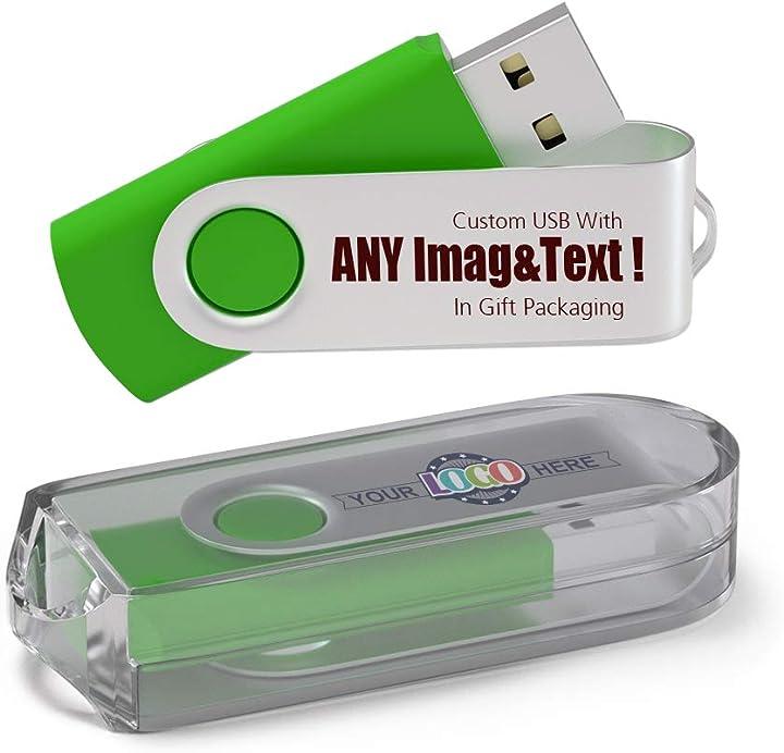 100 pezzi pen drive personalizzata 256mb chiavetta usb con il tuo logo usb 2.0 - verde B07PFCGK7N