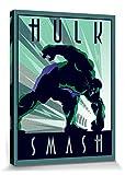 1art1 El Increíble Hulk - Marvel Comics, Art Deco Cuadro, Lienzo Montado sobre Bastidor (40 x 30cm)