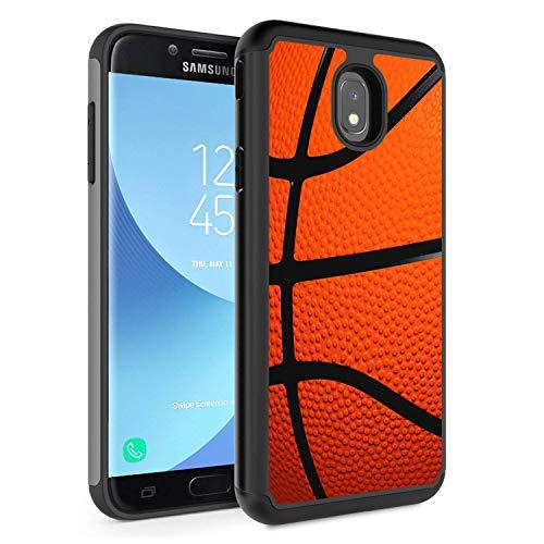 Funda para Galaxy J7 2018, J7 Refine/J7 Star/J7 Aura/J7 Aero/J7 Top/J7 Crown Case, Rossy Hybrid TPU Plastic Dual Layer Armor Defender Phone Case para Samsung Galaxy J7 2018, Baloncesto