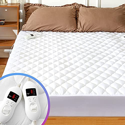 MAKATZ Heated Mattress Pad King Size Adjustable Zone Heating with 8 Heat Settings Controller Quilted Electric Mattress Pad Fit Up to 21 Inch