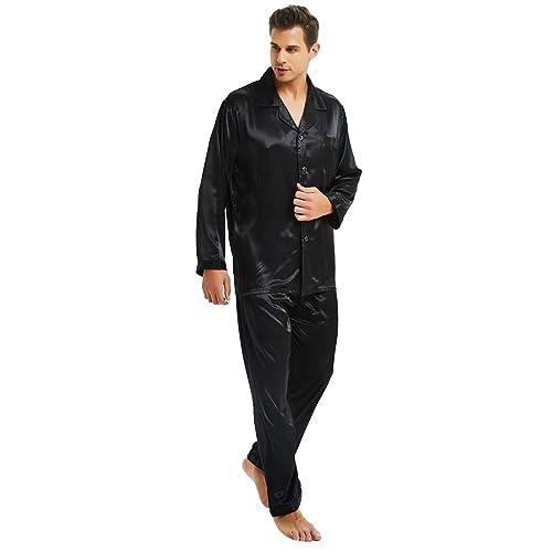 c49641491201 Mens Silk Satin Pajamas Set S M L XL 2XL 3XL 4XL