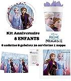 Kit Disney Frozen Frozen 2 II completo 8 bambini compleanno (8 piatti, 8 bicchieri, 20 tovaglioli, 1 tovaglia + 10 candele magiche) festa Anna Elsa