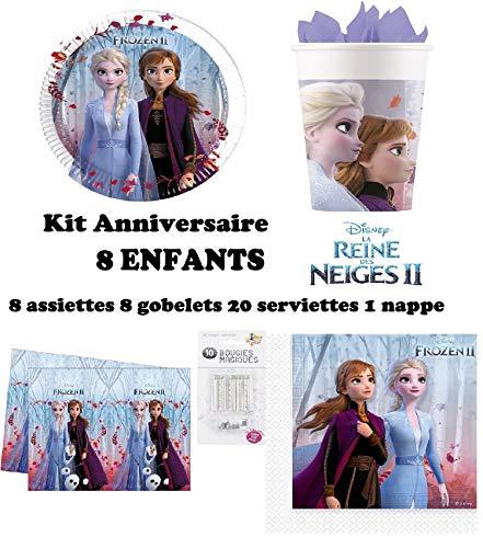 Kit Disney Frozen La Reine des Neiges 2 II Complet 8 Enfants Anniversaire (8 Assiettes, 8 gobelets, 20 Serviettes, 1 Nappe + 10 Bougies Magiques) fête Anna...