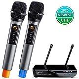 9. Wireless Microphone with Echo, Treble, Bass & Bluetooth, UHF Portable Dual Handheld Wireless Karaoke Dynamic Microphone System, 160 FT Range, for Karaoke Machine, Singing, Wedding, Amp, PA System