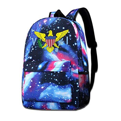 DFIDAS Mochila School Bag United States Virgin Islands Flag Logo Starry Sky Book Bag Quality Big Galaxy Backpack