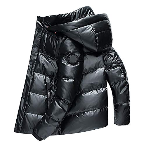 Chaqueta de plumas para hombre Encapuchado Corto impermeable invierno abrigo Brillante Acolchado Aislado al aire libre para colegio cámping viaje Champán, negro, gris plateado (M, L, XL, 2XL, 3XL)