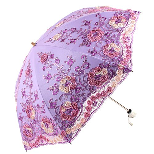 Honeystore Wedding Lace Sun UV Parasol 2 Folding 3D Flower Embroidery Umbrella H7207 Purple