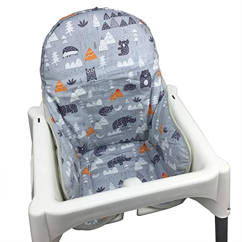 IKEA Antilop Highchair Cotton Seat Covers by ZARPMA,Cotton Surface and Cotton Padded,Forest Pattern Foldable Baby Highchair Cover IKEA Child Chair Cushion (Grey)