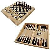 PrimoLiving P-253 Holz Backgammon mit Schachfiguren, ca. 47 x 50 x 3 cm, braun -