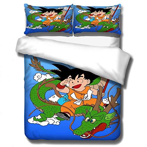 ZYNYHGS 3D Dragon Ball Juego de Cama con Funda nórdica de animación Infantil, Funda de edredón Suave, cómoda y Duradera, Ropa de Cama para niños y niñas, Textiles para el hogar-G_210x210cm (3pcs)