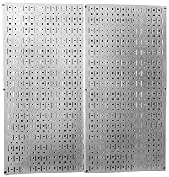 Two grey metal pegboards
