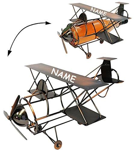 alles-meine.de GmbH Flaschenhalter / Flaschenständer -  Flugzeug mit Propeller  - aus Metall - incl. Name - ideal für Wein, Sekt, Bier u.v.m. - Reise / Flug - Flugreise - Flugs..