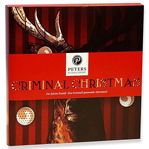 Peters Adventskalender 'Criminal Christmas' IV - Der falsche Rudolf | Krimi-Adventskalender mit Buch | köstliche Pralinen-Täfelchen in 12 Sorten