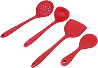 Silicone Kitchen Utensil, 4Pcs Silicone Spatula, Red Silicone Durable for Kitchen Baking Resturant Cooking