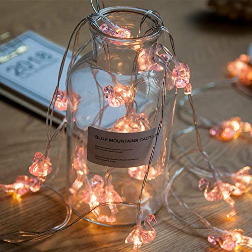 Ghirlanda luminosa con fenicottero, 3D, alimentata tramite USB, per matrimonio, giardino, Natale, luci esterne sospese, luci a tema tropicale, decorazione (Flamingo, 6 M/40 LED)