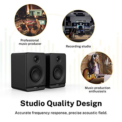 """Donner Studio Monitors 3"""" Near Field Studio Monitors with Professional CSR 5.0 Bluetooth, 2-Pack Including Studio Monitor Isolation Pads (Dyna3 Black)"""