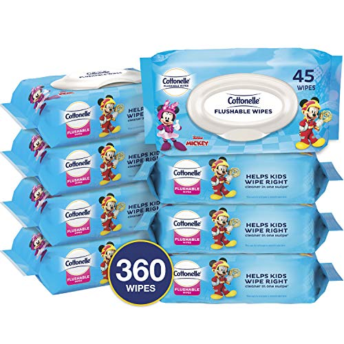 Cottonelle Flushable Wipes for Kids, 8 Flip-Top Packs, 45 Toddler Wipes per Pack...