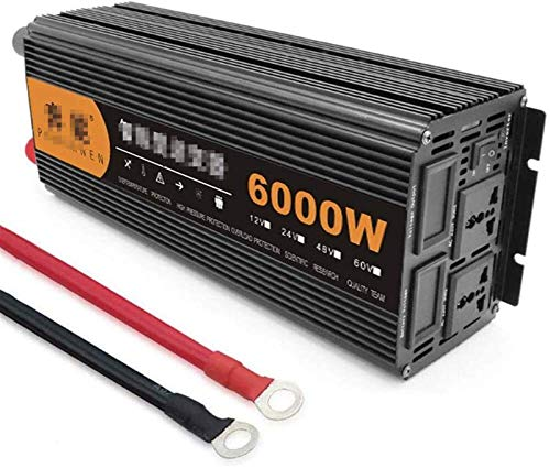 Convertidor de voltaje DC 12V 24V a AC 230V, 2200W / 3200W / 4000W / 6000W / 8000W / 6000W / 8000W / 12000W Onda sinusoiditaria pura, inversor de automóviles con conexiones USB y pantalla digital LED,
