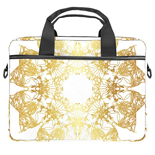 Gold lace Laptop Shoulder Bag Carrying case with Accessory Storage Pockets (13.4-14.5 inch)