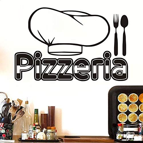 JXMK Pizzeria Bestek Chef Hoed Behang Stickers Verwijderbare Vintage Keuken Pizza Restaurant Muursticker Vinyl Home Decoration | Muursticker 89cm x 58cm
