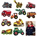 Cieovo 11 Pcs Mix Vehicle Tractor Patches Embroidered Heavy Truck Dump Truck Patch Backhoe Digger Tractor Loader Track Bulldozer Haul Dump Truck DIY Applique Sew Iron on Patch for Clothes