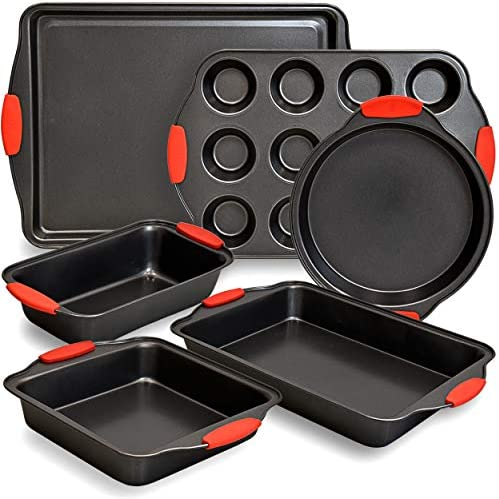 PERLLI 6 Piece Baking Pan Set Nonstick Carbon Steel Oven Bakeware Kitchen Set with Silicone product image