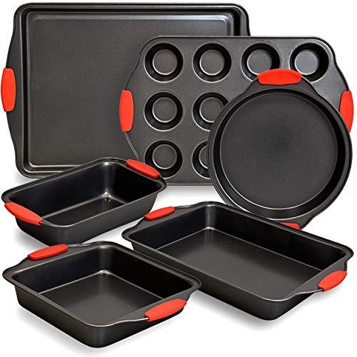 PERLLI 6 Piece Baking Pan Set Nonstick Carbon Steel Oven Bakeware Kitchen Set with Silicone Handles, Cookie Sheet, Cake Pans, Baking Trays, Cupcake Muffin Pan, 9x13 Roasting Pan, Loaf Pan Essentials