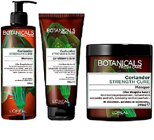 L'Oréal Paris Botanicals Coriander Strength Cure Shampoo, 400 ml & Conditioning Balm x 200 ml & Maske, zerbrechliches Haar, 3 Packungen