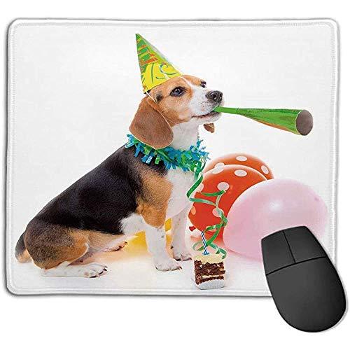 Mousepad Verjaardag Decoraties voor Kinderen Dier Hond Feest Cone Cake Kleurrijke Ballonnen Afbeelding voor Laptop Computer PC Toetsenbord