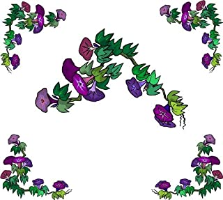 4 Corner Images - Purple Morning Glory Flowers - Vinyl Stained Glass Film, Static Cling Window Decal