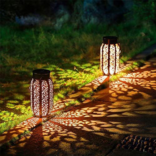 Maggift 2 Pack 10.6 Inch Hanging Solar Lights Outdoor Retro Hanging 20 Lumens Solar Lantern with Handle, Brown