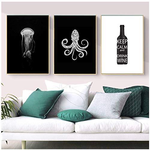 PDFKE Polpo Medusa Animale Stampa Artistica Immagini in Bianco e Nero per pareti Immagini per Soggiorno Decorazione - 16X24 Pollici Senza Cornice 3 Pezzi