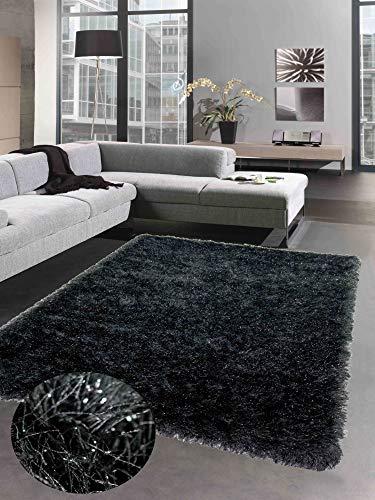 CARPETIA Shaggy Teppich Hochflorteppich mit Glitzer anthrazit grau Größe 80x150 cm