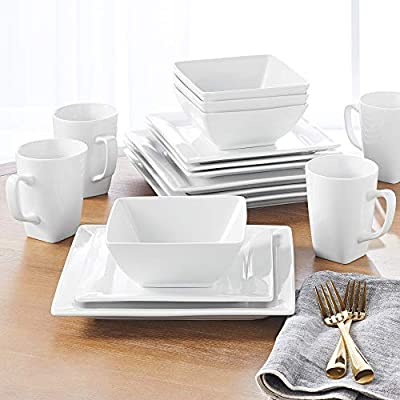 Better Homes & Gardens 16 Piece Square Porcelain Dinnerware Set, White