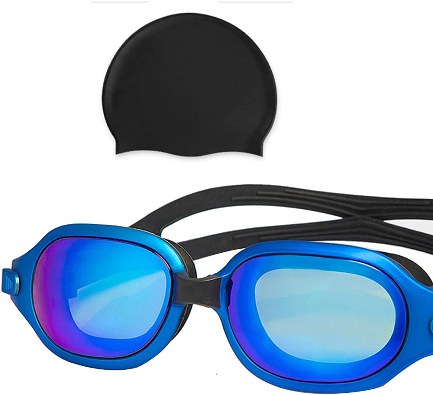 Swimming Goggles Men and Women Youth Large Frame Waterproof AntiFog Plating Goggles (color   bluee)
